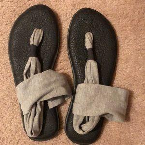 Gray and Black Sanuk Sandals